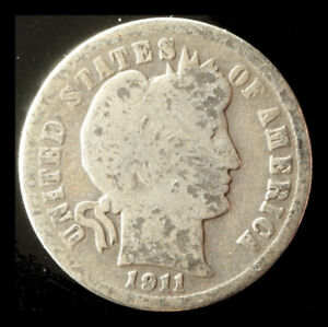 1911 D BARBER 90  SILVER DIME SHIPS FREE. BUY 5 FOR $2 OFF