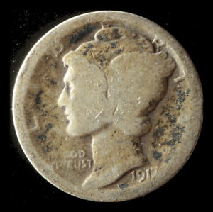 1917 P MERCURY 90  SILVER DIME SHIPS FREE. BUY 5 FOR $2 OFF
