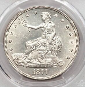 1877 S TRADE SILVER DOLLAR PCGS UNC DETAILS UNCIRCULATED TYPE COIN CLEANED