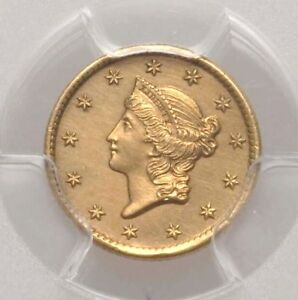 1854 S PCGS AU DETAILS $1 ONE DOLLAR GOLD LIBERTY HEAD TYPE 1 ABOUT UNCIRCULATED