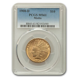 1908 D $10 INDIAN GOLD EAGLE W/MOTTO MS 61 PCGS   SKU115027