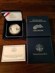 2009 ABRAHAM LINCOLN COMMEMORATIVE PROOF SILVER DOLLAR WITH BOX AND COA