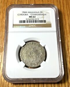 Click now to see the BUY IT NOW Price! 1844 ARGENTINA 2 REALES CORDOBA NGC MS62 SECOND HIGHEST GRADED SILVER REPUBLIC