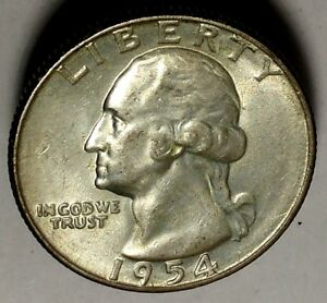 1954 S 25C WASHINGTON QUARTER 18SOS1021 AU BU 90  SILVER  50 CENTS FOR SHIPPING