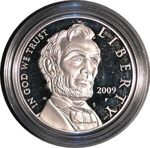 2009 LINCOLN PROOF SILVER DOLLAR WITH ORIGINAL PACKAGING.