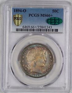 Click now to see the BUY IT NOW Price! POP 3 1894 O 50C MS66  PCGS CAC. LAST APR $28 200. COLOR TONED