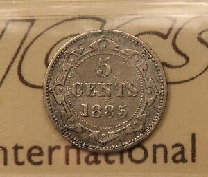Click now to see the BUY IT NOW Price! 1885 NEWFOUNDLAND SILVER 5 CENTS   KEY DATE   ICCS F 15 WK