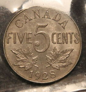 Click now to see the BUY IT NOW Price! 1928 CANADA 5 CENTS NICKEL ICCS MS 63  IN THIS GRADE   WK 228