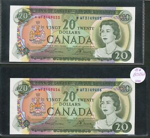 Click now to see the BUY IT NOW Price! SEQUENTIAL SERIAL  PAIR 2X 1969 $20 CANADA REPLACEMENT  WF CHUNC BV $1K BC 50BA