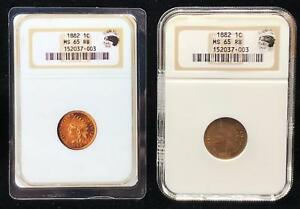 1882 INDIAN CENT   NGC MS65 RB    COPPER 1 C   EAGLE EYE   BIN  RC10432