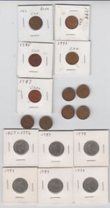 17 COIN LOT CANADA COINS 6 FIVE CENT 11  CENTS DATES LISTED BELOW IN DESCRIPTION