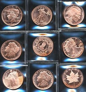 Click now to see the BUY IT NOW Price!  9  ASSORTED 1 OZ AVDP OUNCE 999 FINE COPPER ROUND SPECIMEN BULLION