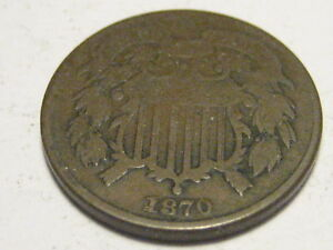 1870 TWO CENT PIECE VG