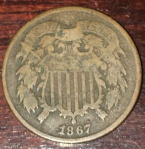 1867 TWO CENT PIECE IN GOOD PLUS CONDITION K012