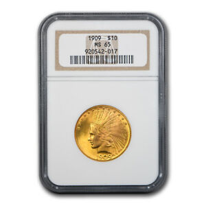 Click now to see the BUY IT NOW Price! 1909 $10 INDIAN GOLD EAGLE MS 65 NGC   SKU180823