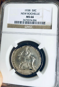 1938 NEW ROCHELLE COMMEMORATIVE SILVER HALF DOLLAR   NGC MS 66   MINT STATE 66