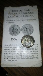 1937 ROANOKE ISLAND COMMEMORATIVE COIN WITH 5 COIN CARD HOLDER