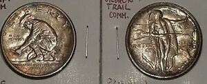 OREGON TRAIL & CALIFORNIA JUBILEE COMMEMORATIVE HALVES TONED ..