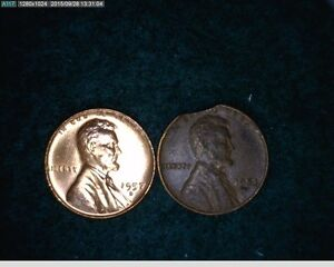 1953 D CLIPPED ERROR AND 1957 D FILLED 9 & 5 ERROR CENT  60 129