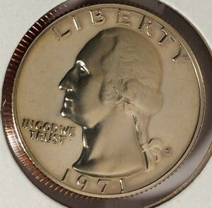 1971 S 25C WASHINGTON QUARTER 17RR0708 BU PROOF CN CLAD 50 CENTS FOR SHIPPING
