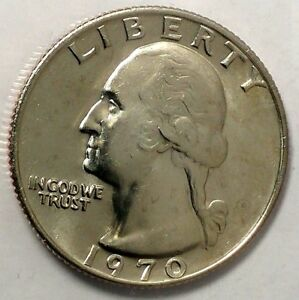 1970 P 25C WASHINGTON QUARTER 18LSR12301 1 BU CN CLAD ONLY 50 CENTS FOR SHIPPING