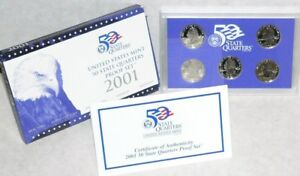 2001 UNITED STATES MINT 50 STATE QUARTERS PROOF SET. COMPLETE 5 COIN SET.