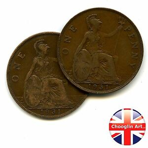 A PAIR OF 1931 BRITISH BRONZE GEORGE V PENNY COINS
