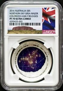 Click now to see the BUY IT NOW Price! 2016 AUSTRALIA SILVER $5 NORTHERN SKY URSA MAJOR COLORIZED NGC PF70 ERLY RELEASE