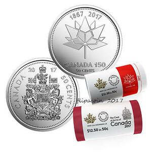 CANADA 2017 NEW 2X50 CENTS KIT 150TH ANN OF CANADA   COAT OF ARMS  BU FROM ROLL