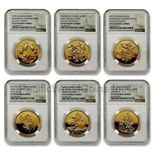 Click now to see the BUY IT NOW Price! CANADA 1999 2004 PROVINCIAL FLOWERS SERIES 6 COINS GOLD NGC PF69 UC SKU7069