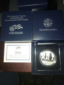 2010 AMERICAN VETERANS DISABLED FOR LIFE COMMEMORATIVE SILVER DOLLAR IN OGP