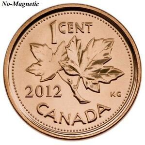 CANADA 2012 NEW 1 CENT COPPER PLATED ZINC NON MAGNETIC  BU FROM ROLL