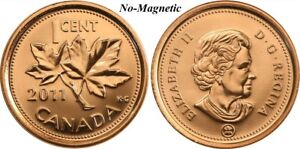 CANADA 2011 NEW 1 CENT COPPER PLATED ZINC NON MAGNETIC  BU FROM ROLL