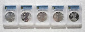 2011 25TH ANNIVERSARY SILVER EAGLE 5 COIN SET PCGS PR&MS 69/70/69/69/70 FS