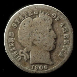 1906 P BARBER 90  SILVER DIME SHIPS FREE. BUY 5 FOR $2 OFF