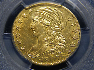 1807 $5 CAPPED BUST LEFT HALF EAGLE GOLD PIECE AU 53 PCGS