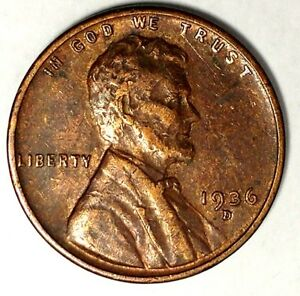 1936 D 1C LINCOLN WHEAT CENT 18RR0816 ONLY 50 CENTS FOR SHIPPING