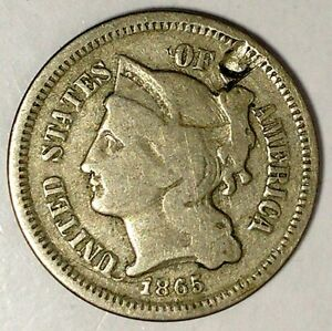1865 P  3C THREE CENT NICKEL 18ATU0818  ONLY 50 CENTS FOR SHIPPING