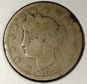 1883 P  5C LIBERTY HEAD NICKEL W/CENTS 18AU0909  ONLY 50 CENTS FOR SHIPPING