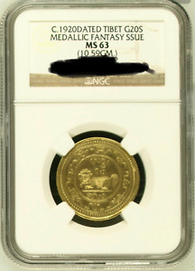 Click now to see the BUY IT NOW Price!  1920 CHINA TIBET GOLD 20 SRANG MEDALLIC FANTASY ISSUE NGC MS63