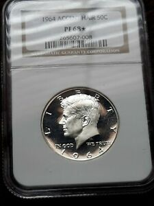 Click now to see the BUY IT NOW Price! 1964 ACCENTED HAIR KENNEDY HALF GRADED BY NGC IN PF68 STAR DCAM OBVERSE POP27/23