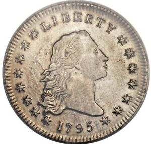 Click now to see the BUY IT NOW Price! 1795 FLOWING HAIR SILVER DOLLAR  PCGS AU55 2 LEAVES SPECTACULAR COIN & DETAILS