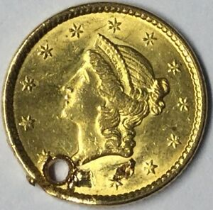 1851 $1 GOLD LIBERTY HEAD TYPE 1 UNCERTIFIED