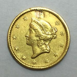 1851 $1 TYPE 1 U.S. GOLD LIBERTY REPAIRED