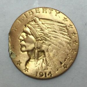 1914 $2.50 GOLD INDIAN HEAD EX JEWELRY DETAILS