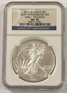 Click now to see the BUY IT NOW Price! 2011 W SILVER EAGLE NGC MS70  25TH ANNIVERSARY SET  EARLY RELEASES