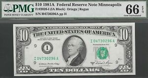 1981 A  $10 MINNEAPOLIS  FED  ONLY 19 200 000 ISSUED PMG 66 EPQ    NR
