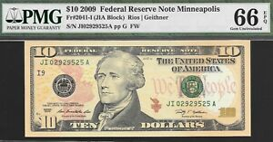 2009 $10 MINNEAPOLIS FED ONLY 25 600 000 ISSUED PMG 66 EPQ   NR