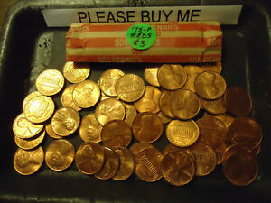 1975 P LINCOLN CENT NICE RED CIRCS ROLL  > COMBINE POSTAGE AVAILABLE <