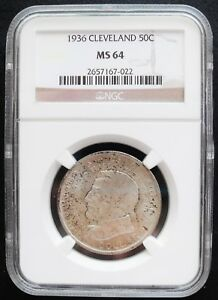 1936 CLEVELAND 50 CENTS  NGC MS 64 CHOICE SILVER COIN . /
